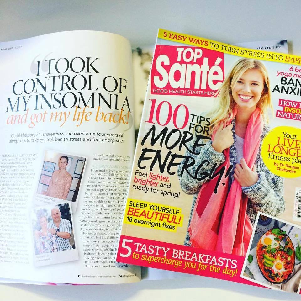 Top Sante Magazine article about Carol's insomnia
